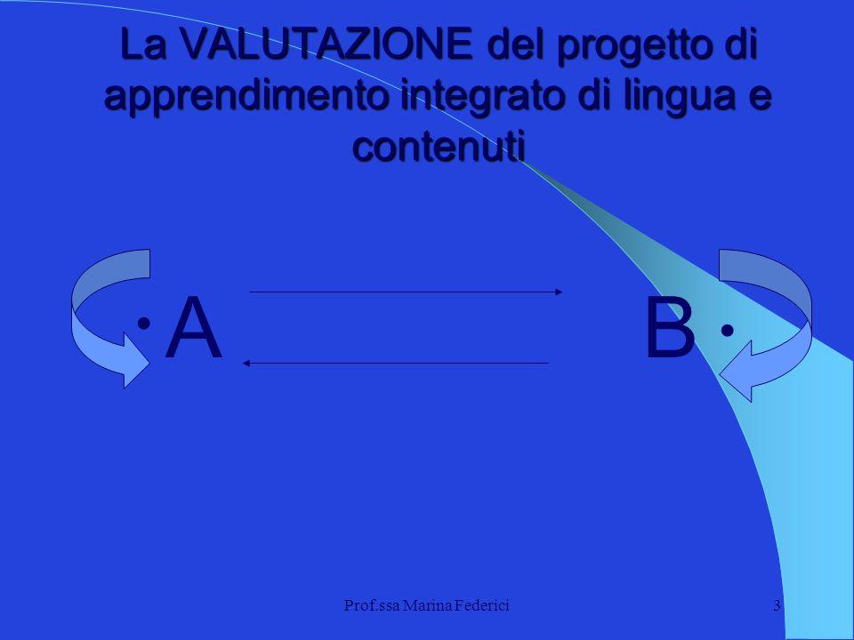 Prof.ssa Marina Federici3 La VALUTAZIONE del progetto di apprendimento integrato di lingua e contenuti AB..