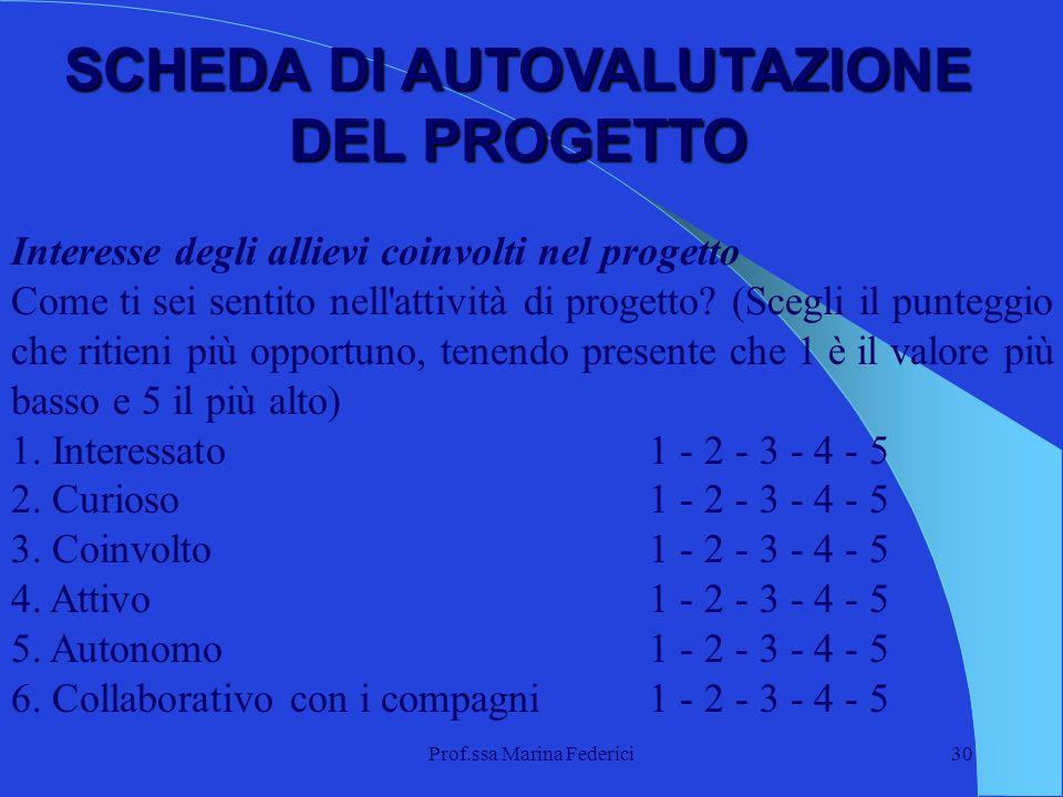 Prof.ssa Marina Federici30 Interesse degli allievi coinvolti nel progetto Come ti sei sentito nell'attività di progetto? (Scegli il punteggio che riti