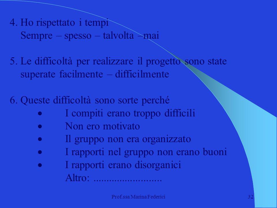 Prof.ssa Marina Federici32 4. Ho rispettato i tempi Sempre – spesso – talvolta –mai 5. Le difficoltà per realizzare il progetto sono state superate fa