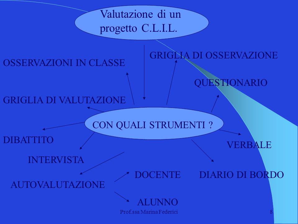 Prof.ssa Marina Federici8 Valutazione di un progetto C.L.I.L. CON QUALI STRUMENTI ? OSSERVAZIONI IN CLASSE AUTOVALUTAZIONE DOCENTE ALUNNO DIARIO DI BO