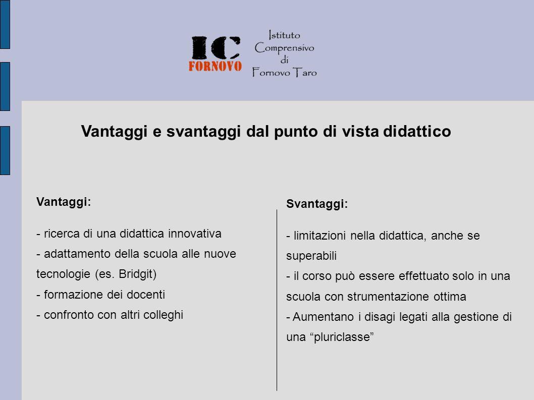 Vantaggi: - ricerca di una didattica innovativa - adattamento della scuola alle nuove tecnologie (es.