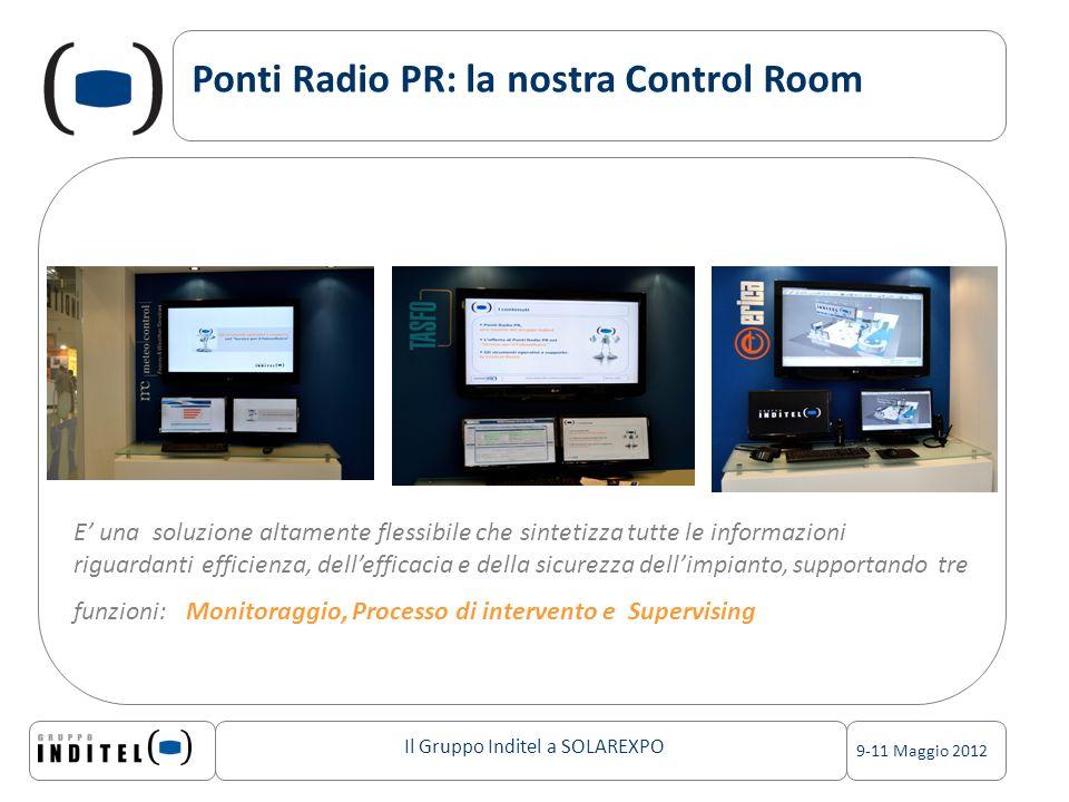 Il Gruppo Inditel a SOLAREXPO 9-11 Maggio 2012 Ponti Radio PR: la nostra Control Room E una soluzione altamente flessibile che sintetizza tutte le informazioni riguardanti efficienza, dellefficacia e della sicurezza dellimpianto, supportando tre funzioni: Monitoraggio, Processo di intervento e Supervising
