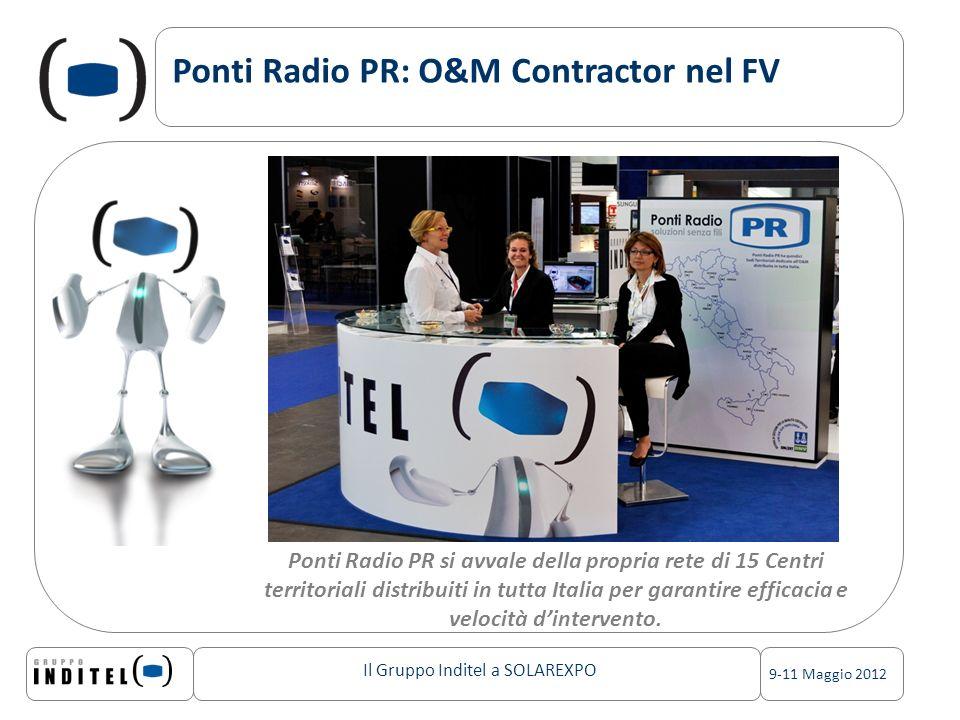 Il Gruppo Inditel a SOLAREXPO 9-11 Maggio 2012 Ponti Radio PR: O&M Contractor nel FV Ponti Radio PR si avvale della propria rete di 15 Centri territoriali distribuiti in tutta Italia per garantire efficacia e velocità dintervento.
