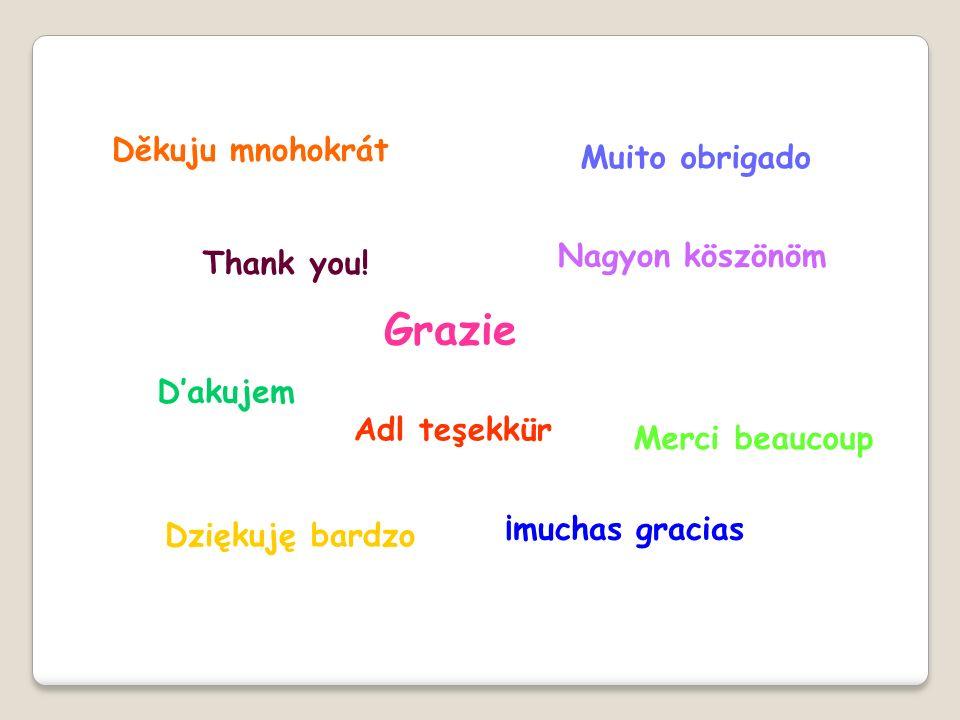 Thank you! Adl teşekkür Nagyon köszönöm Dakujem Grazie Dziękuję bardzo Muito obrigado Merci beaucoup ¡muchas gracias Děkuju mnohokrát