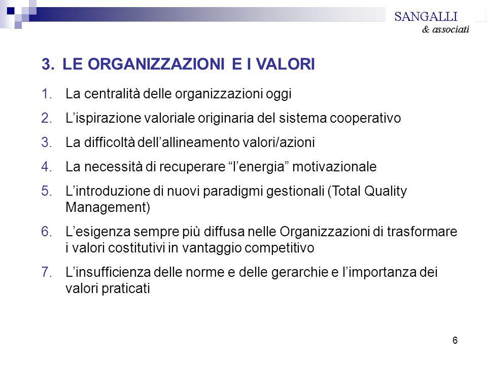 6 3. LE ORGANIZZAZIONI E I VALORI 1.La centralità delle organizzazioni oggi 2.Lispirazione valoriale originaria del sistema cooperativo 3.La difficolt