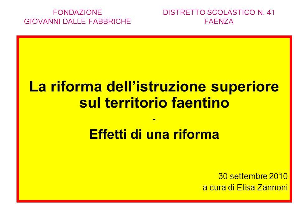 FONDAZIONE GIOVANNI DALLE FABBRICHE La riforma dellistruzione superiore sul territorio faentino - Effetti di una riforma 30 settembre 2010 a cura di Elisa Zannoni DISTRETTO SCOLASTICO N.
