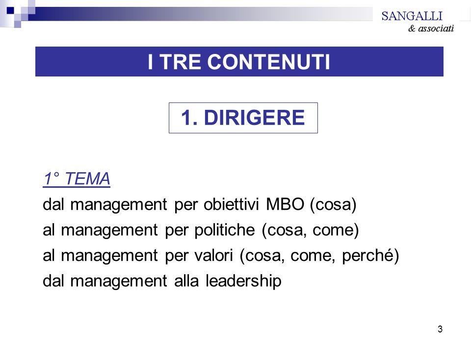 3 I TRE CONTENUTI 1° TEMA dal management per obiettivi MBO (cosa) al management per politiche (cosa, come) al management per valori (cosa, come, perch