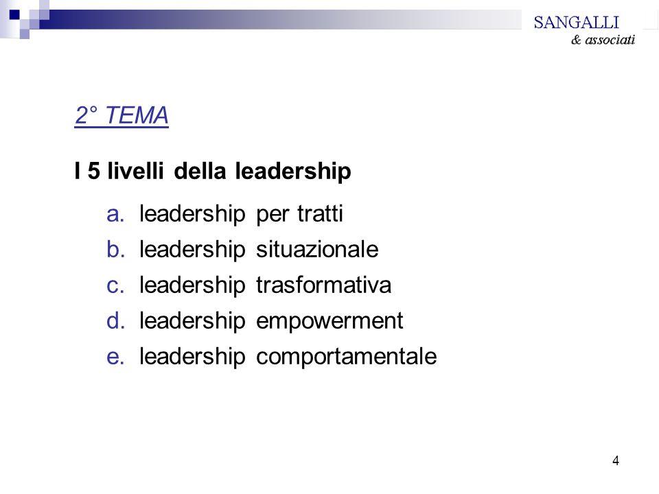 4 2° TEMA I 5 livelli della leadership a.leadership per tratti b.leadership situazionale c.leadership trasformativa d.leadership empowerment e.leaders