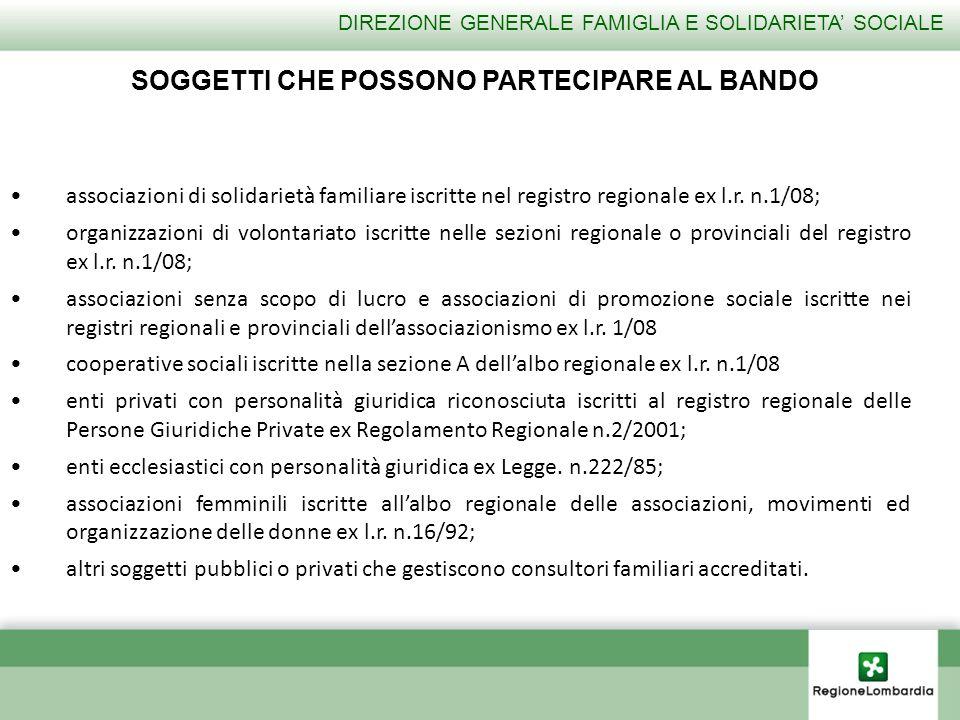 associazioni di solidarietà familiare iscritte nel registro regionale ex l.r. n.1/08; organizzazioni di volontariato iscritte nelle sezioni regionale