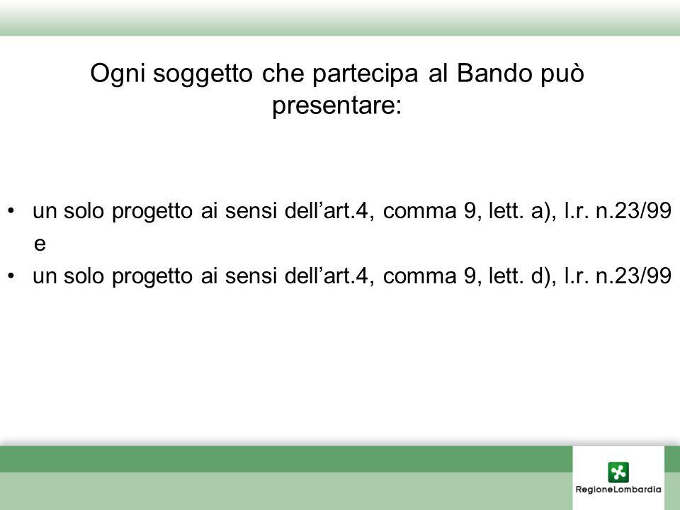 Ogni soggetto che partecipa al Bando può presentare: un solo progetto ai sensi dellart.4, comma 9, lett. a), l.r. n.23/99 e un solo progetto ai sensi