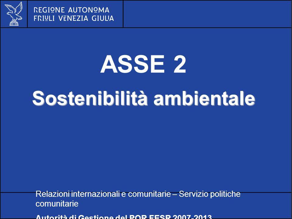 POR FESR FVG 2007-2013 ASSE 2 Sostenibilità ambientale Relazioni internazionali e comunitarie – Servizio politiche comunitarie Autorità di Gestione del POR FESR 2007-2013