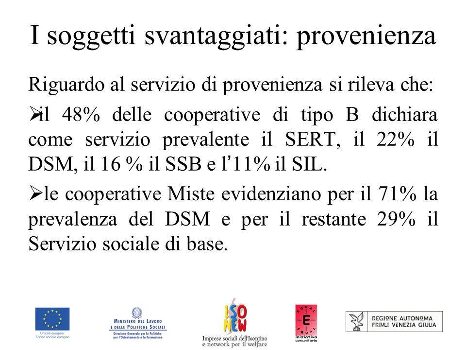 I soggetti svantaggiati: provenienza Riguardo al servizio di provenienza si rileva che: il 48% delle cooperative di tipo B dichiara come servizio prevalente il SERT, il 22% il DSM, il 16 % il SSB e l 11% il SIL.