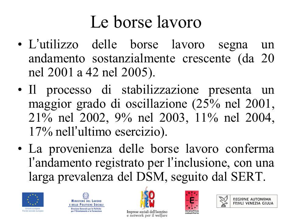 Le borse lavoro L utilizzo delle borse lavoro segna un andamento sostanzialmente crescente (da 20 nel 2001 a 42 nel 2005).