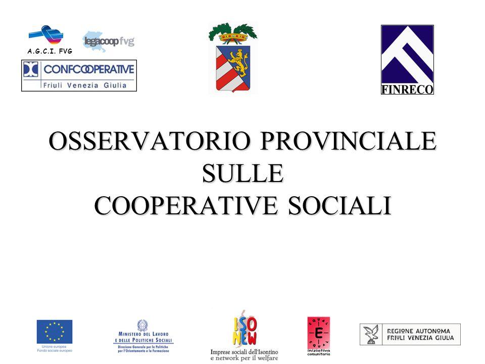 OSSERVATORIO PROVINCIALE SULLE COOPERATIVE SOCIALI A.G.C.I. FVG