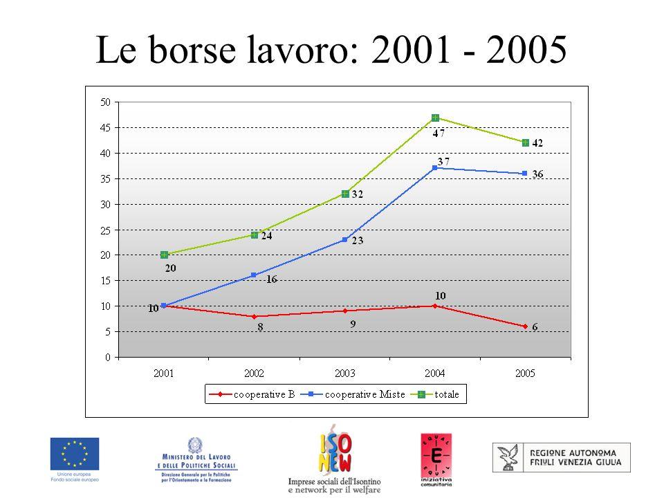 Le borse lavoro: 2001 - 2005