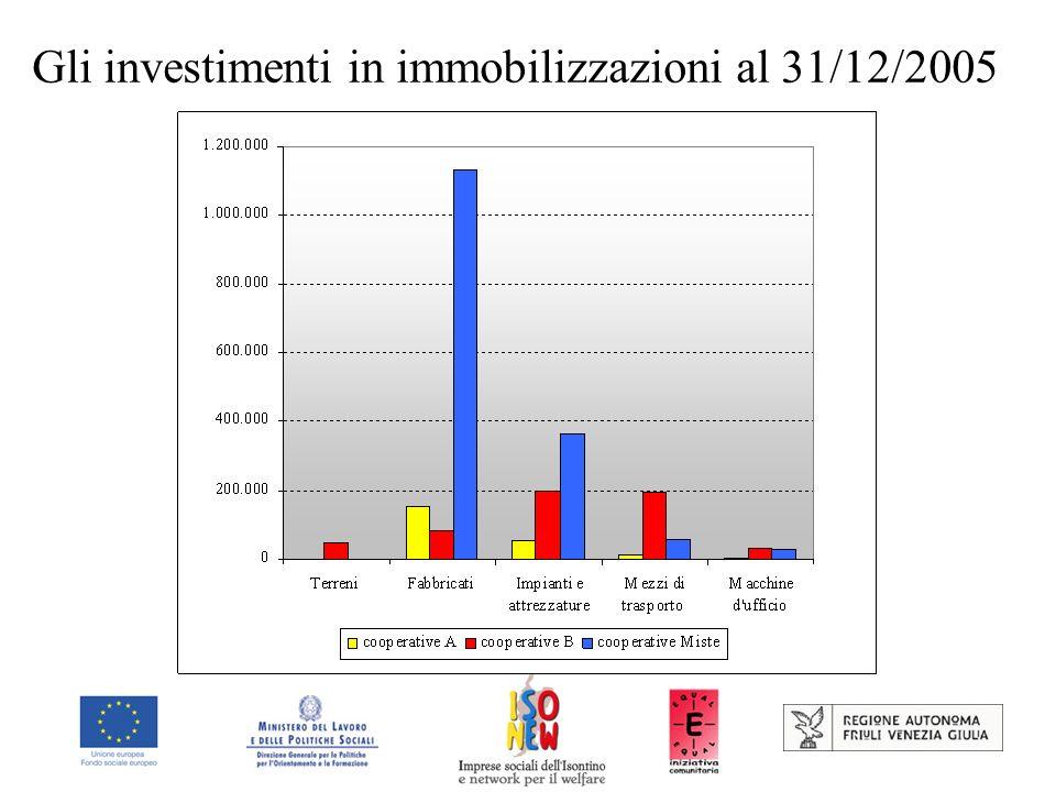 Gli investimenti in immobilizzazioni al 31/12/2005