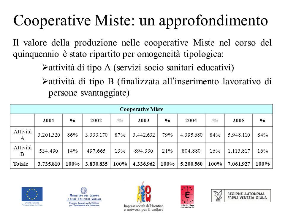 Cooperative Miste: un approfondimento Il valore della produzione nelle cooperative Miste nel corso del quinquennio è stato ripartito per omogeneità tipologica: attività di tipo A (servizi socio sanitari educativi) attività di tipo B (finalizzata all inserimento lavorativo di persone svantaggiate) Cooperative Miste 2001%2002%2003%2004%2005% Attività A 3.201.32086%3.333.17087%3.442.63279%4.395.68084%5.948.11084% Attività B 534.49014%497.66513%894.33021%804.88016%1.113.81716% Totale3.735.810100%3.830.835100%4.336.962100%5.200.560100%7.061.927100%
