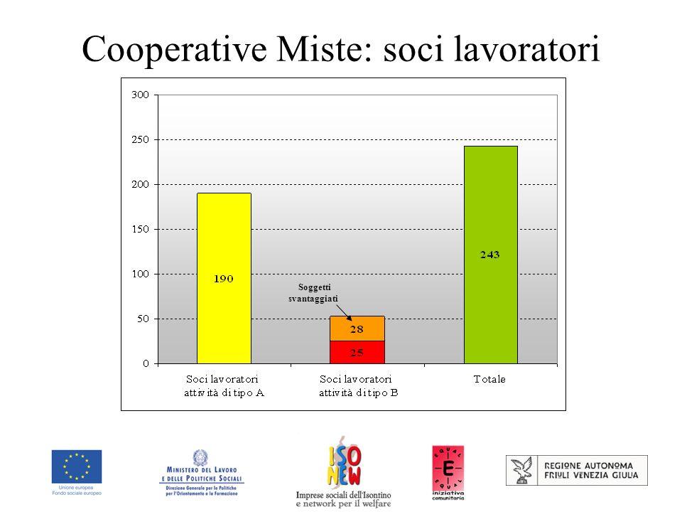 Cooperative Miste: soci lavoratori Soggetti svantaggiati