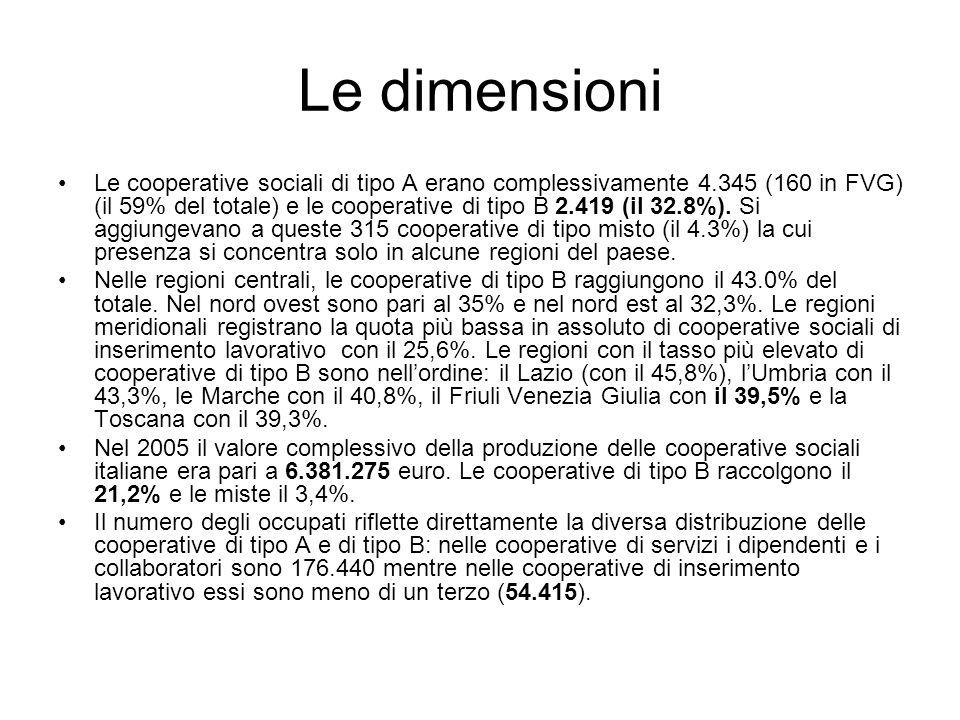 Le dimensioni Le cooperative sociali di tipo A erano complessivamente 4.345 (160 in FVG) (il 59% del totale) e le cooperative di tipo B 2.419 (il 32.8%).