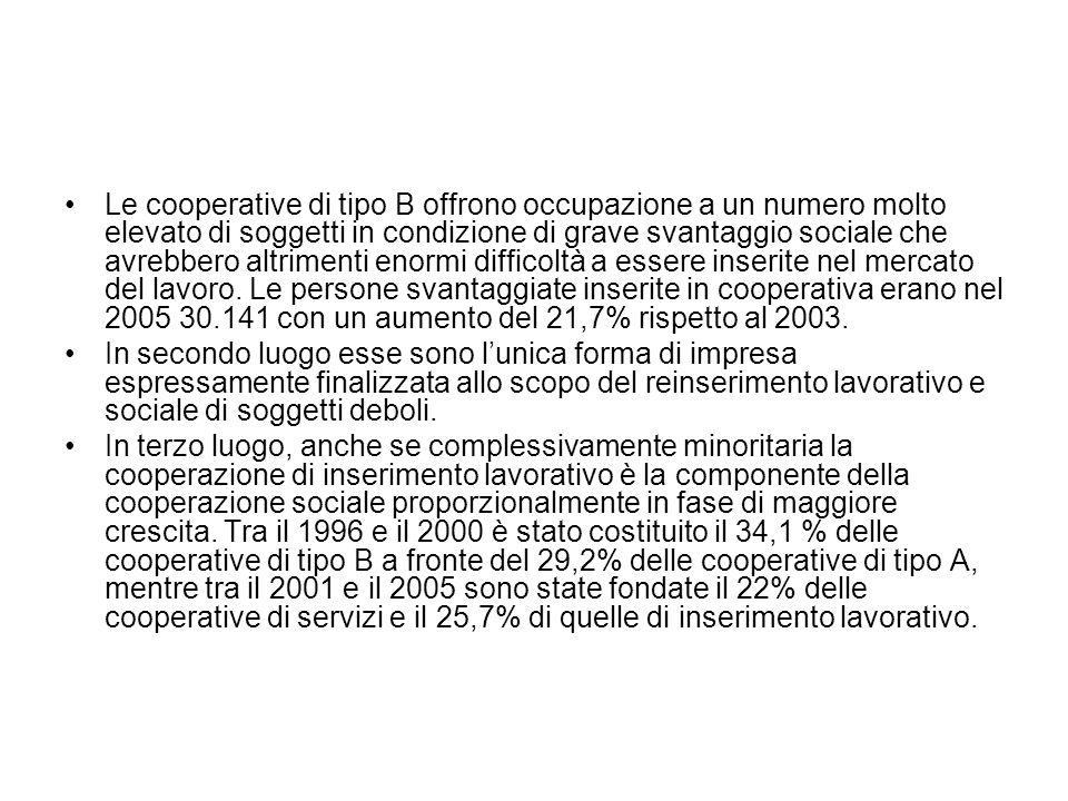 Le cooperative di tipo B offrono occupazione a un numero molto elevato di soggetti in condizione di grave svantaggio sociale che avrebbero altrimenti