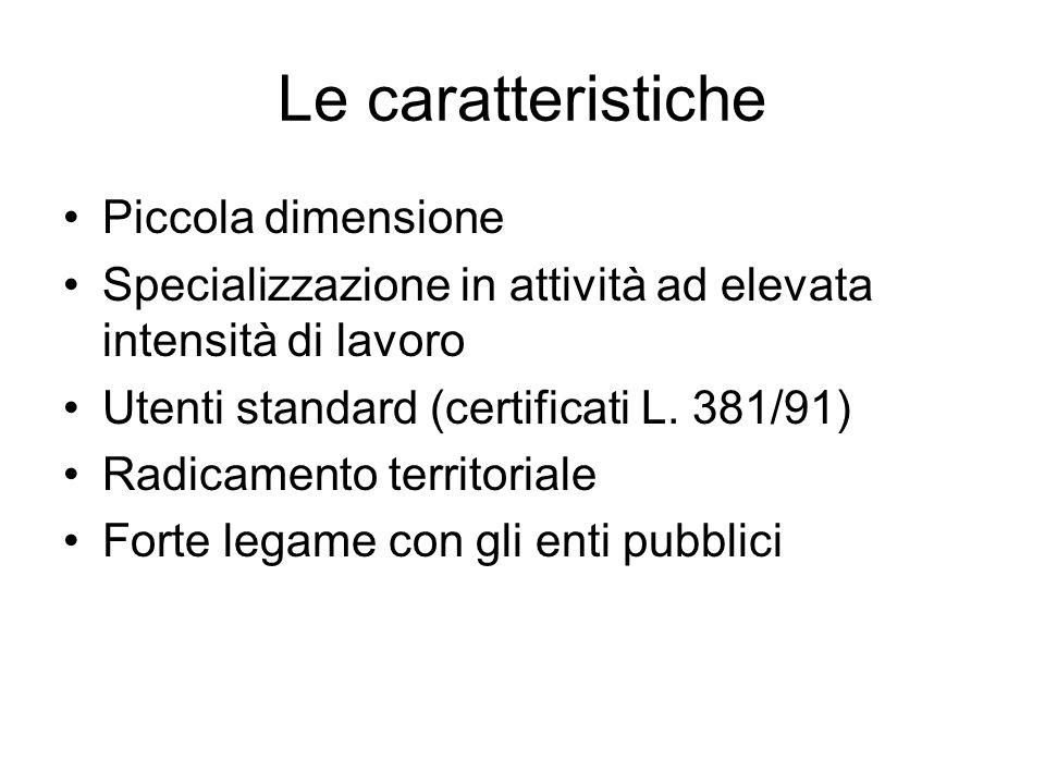 Le caratteristiche Piccola dimensione Specializzazione in attività ad elevata intensità di lavoro Utenti standard (certificati L. 381/91) Radicamento