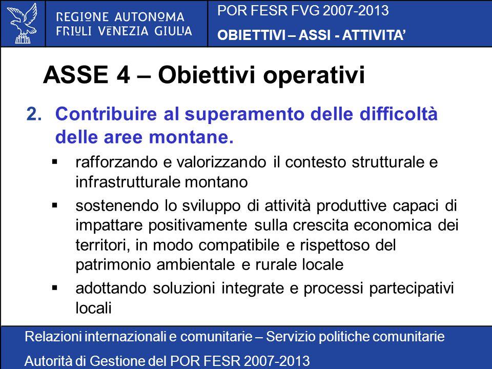 POR FESR FVG 2007-2013 OBIETTIVI – ASSI - ATTIVITA Relazioni internazionali e comunitarie – Servizio politiche comunitarie Autorità di Gestione del POR FESR 2007-2013 ASSE 4 – Obiettivi operativi 2.Contribuire al superamento delle difficoltà delle aree montane.