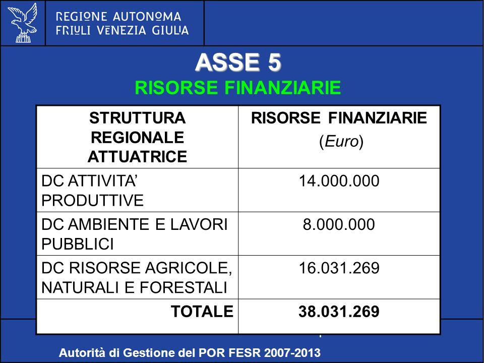 POR FESR FVG 2007-2013 ASSE 5 RISORSE FINANZIARIE Relazioni internazionali e comunitarie – Servizio politiche comunitarie Autorità di Gestione del POR FESR 2007-2013 STRUTTURA REGIONALE ATTUATRICE RISORSE FINANZIARIE (Euro) DC ATTIVITA PRODUTTIVE 14.000.000 DC AMBIENTE E LAVORI PUBBLICI 8.000.000 DC RISORSE AGRICOLE, NATURALI E FORESTALI 16.031.269 TOTALE38.031.269