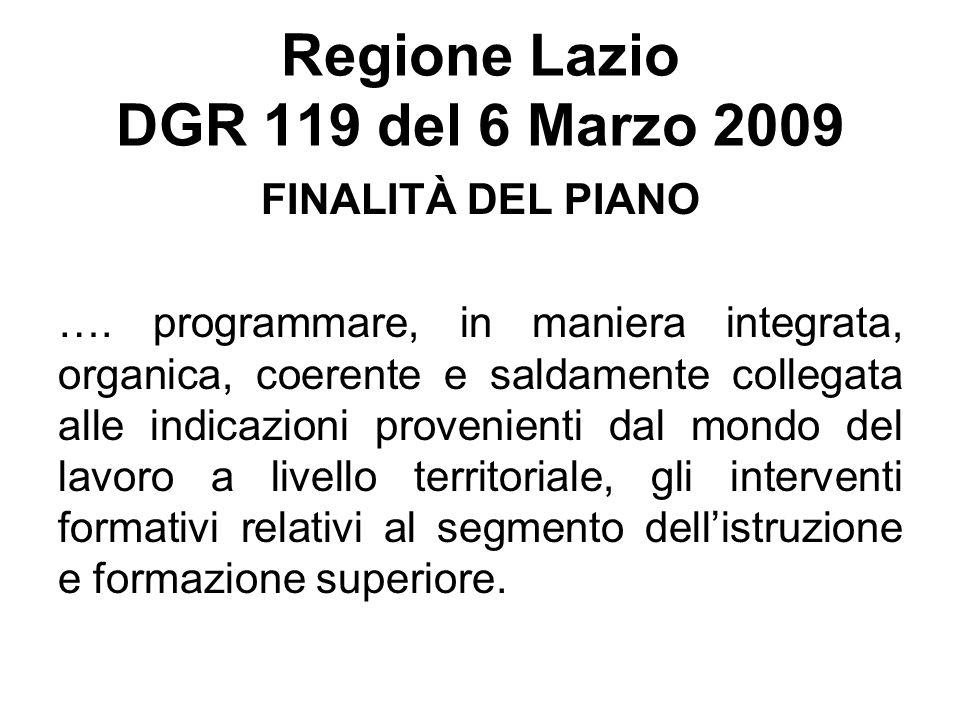 Regione Lazio DGR 119 del 6 Marzo 2009 FINALITÀ DEL PIANO …. programmare, in maniera integrata, organica, coerente e saldamente collegata alle indicaz