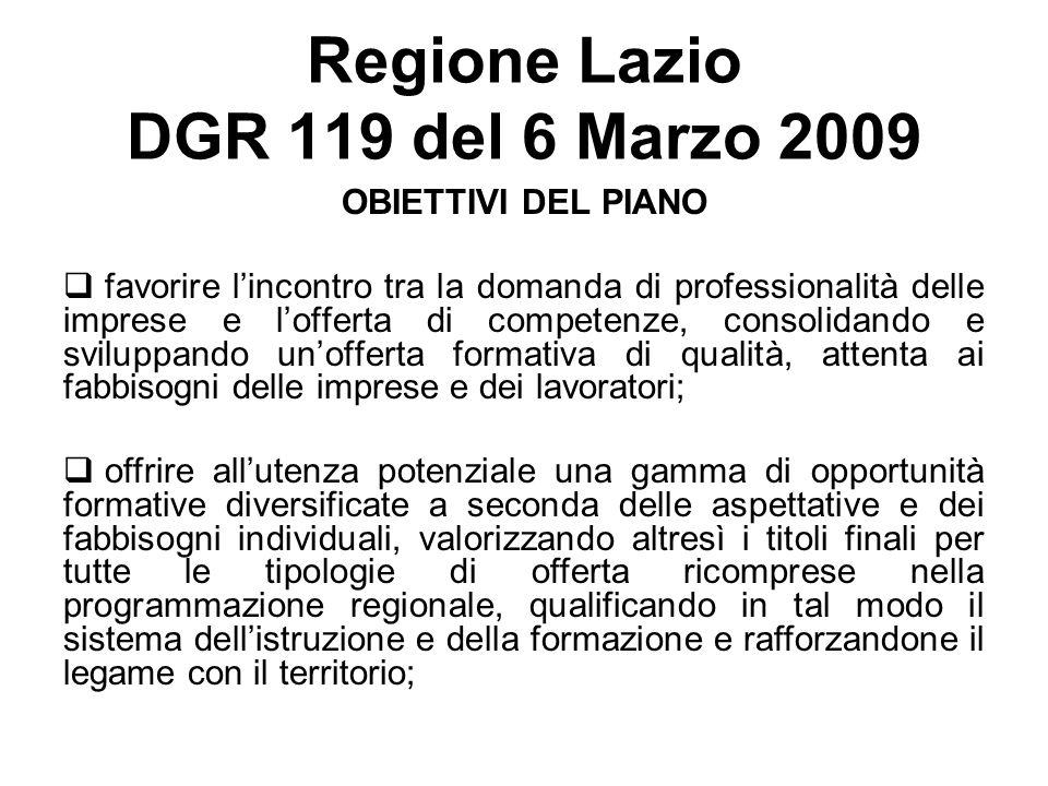 Regione Lazio DGR 119 del 6 Marzo 2009 OBIETTIVI DEL PIANO favorire lincontro tra la domanda di professionalità delle imprese e lofferta di competenze