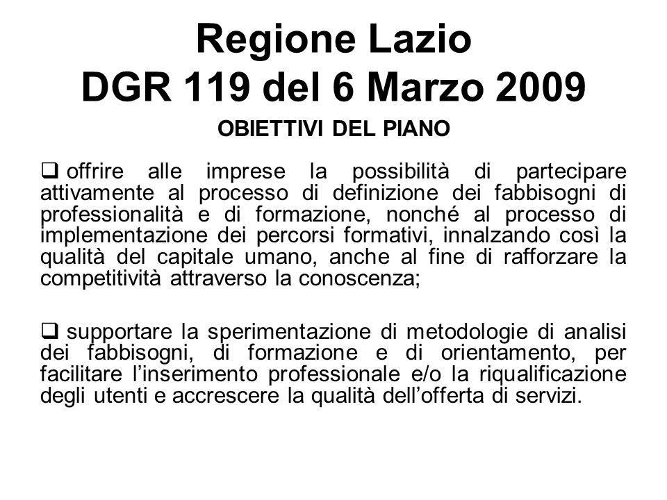 Regione Lazio DGR 119 del 6 Marzo 2009 OBIETTIVI DEL PIANO offrire alle imprese la possibilità di partecipare attivamente al processo di definizione d