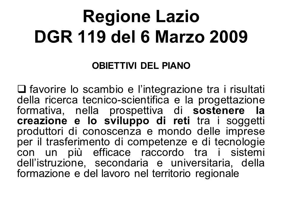 Regione Lazio DGR 119 del 6 Marzo 2009 OBIETTIVI DEL PIANO favorire lo scambio e lintegrazione tra i risultati della ricerca tecnico-scientifica e la