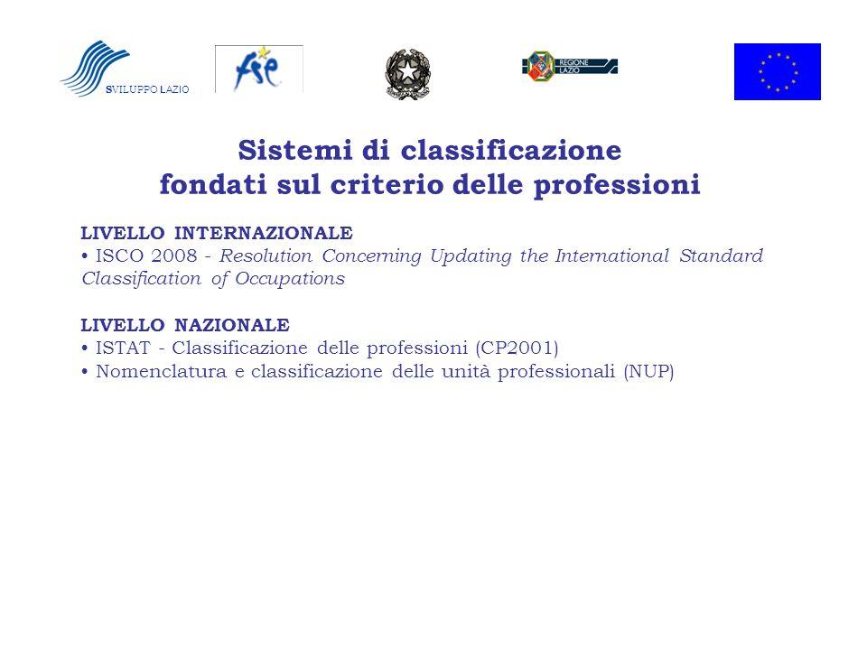S VILUPPO LAZIO Sistemi di classificazione fondati sul criterio delle professioni LIVELLO INTERNAZIONALE ISCO 2008 - Resolution Concerning Updating th