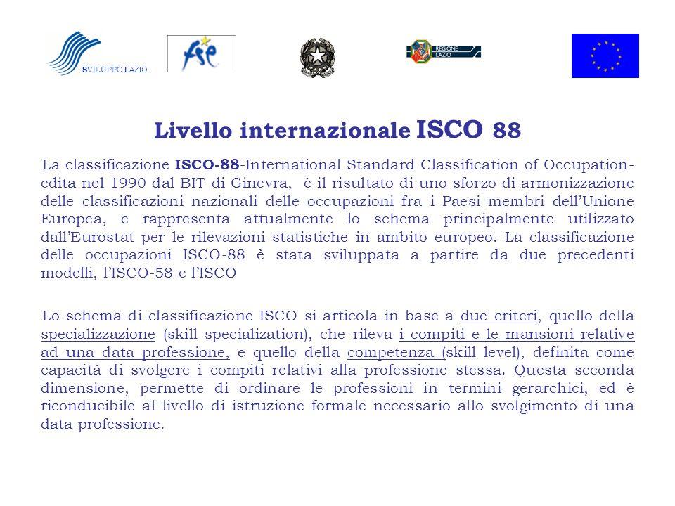 S VILUPPO LAZIO Livello internazionale ISCO 88 La classificazione ISCO-88 -International Standard Classification of Occupation- edita nel 1990 dal BIT