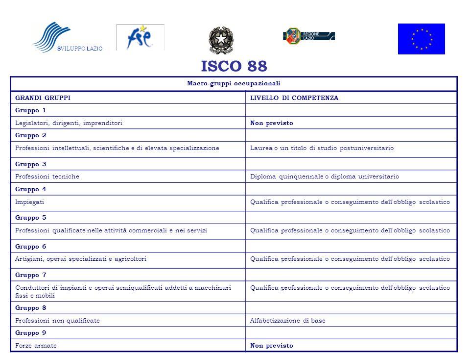 ISCO 88 Macro-gruppi occupazionali GRANDI GRUPPILIVELLO DI COMPETENZA Gruppo 1 Legislatori, dirigenti, imprenditori Non previsto Gruppo 2 Professioni
