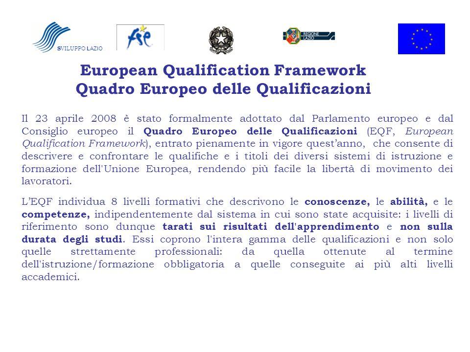S VILUPPO LAZIO European Qualification Framework Quadro Europeo delle Qualificazioni Il 23 aprile 2008 è stato formalmente adottato dal Parlamento eur