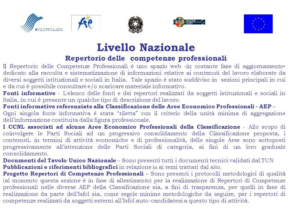 Livello Nazionale Repertorio delle competenze professionali Il Repertorio delle Competenze Professionali è uno spazio web -in costante fase di aggiorn