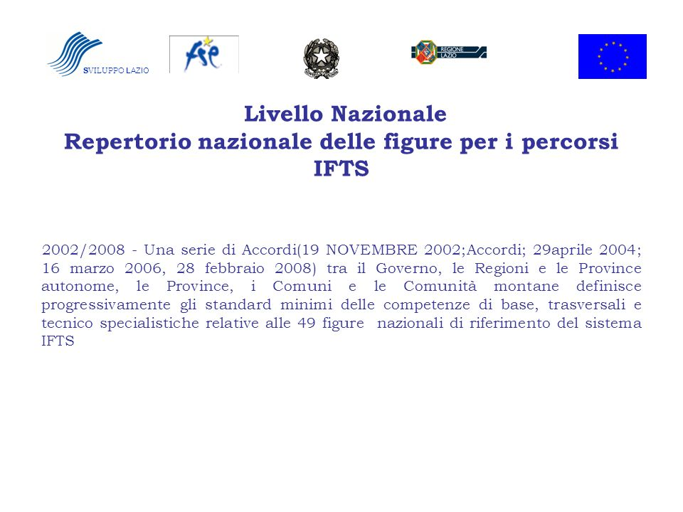 Livello Nazionale Repertorio nazionale delle figure per i percorsi IFTS 2002/2008 - Una serie di Accordi(19 NOVEMBRE 2002;Accordi; 29aprile 2004; 16 m