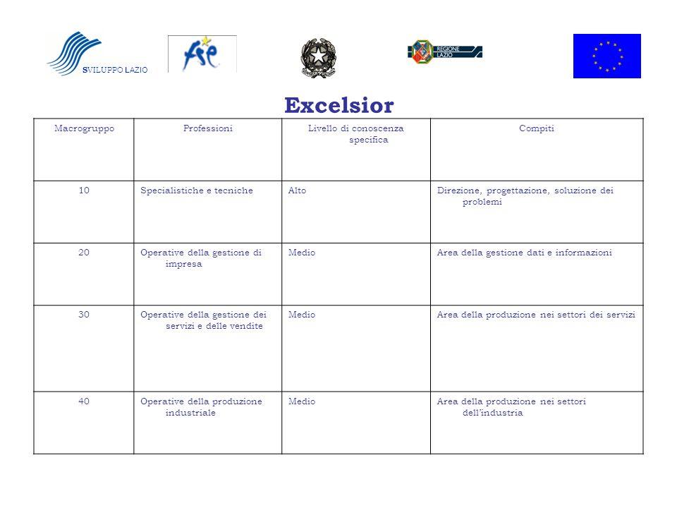 Excelsior S VILUPPO LAZIO MacrogruppoProfessioniLivello di conoscenza specifica Compiti 10Specialistiche e tecnicheAltoDirezione, progettazione, soluz