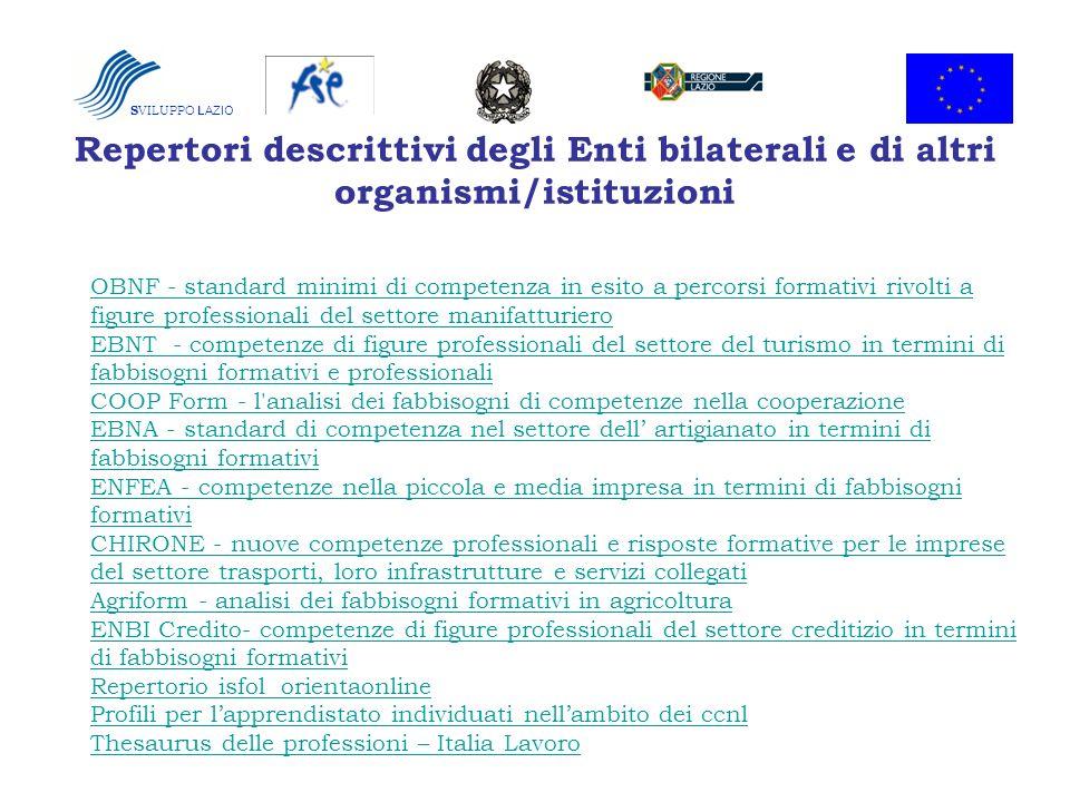 Repertori descrittivi degli Enti bilaterali e di altri organismi/istituzioni OBNF - standard minimi di competenza in esito a percorsi formativi rivolt