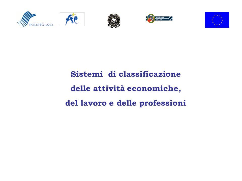 S VILUPPO LAZIO Sistemi di classificazione delle attività economiche, del lavoro e delle professioni