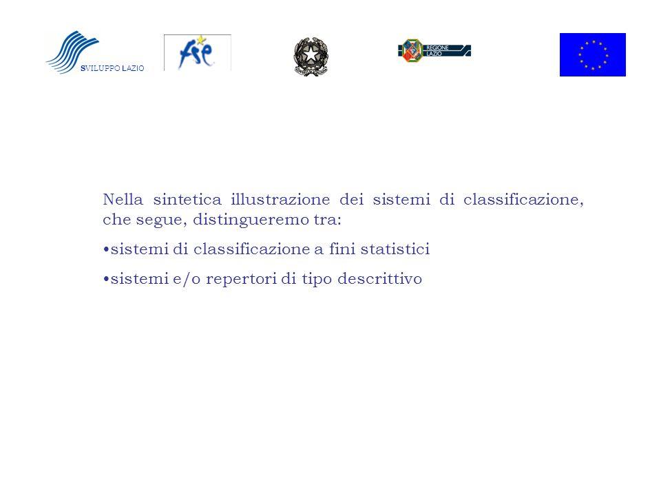 S VILUPPO LAZIO Nella sintetica illustrazione dei sistemi di classificazione, che segue, distingueremo tra: sistemi di classificazione a fini statisti