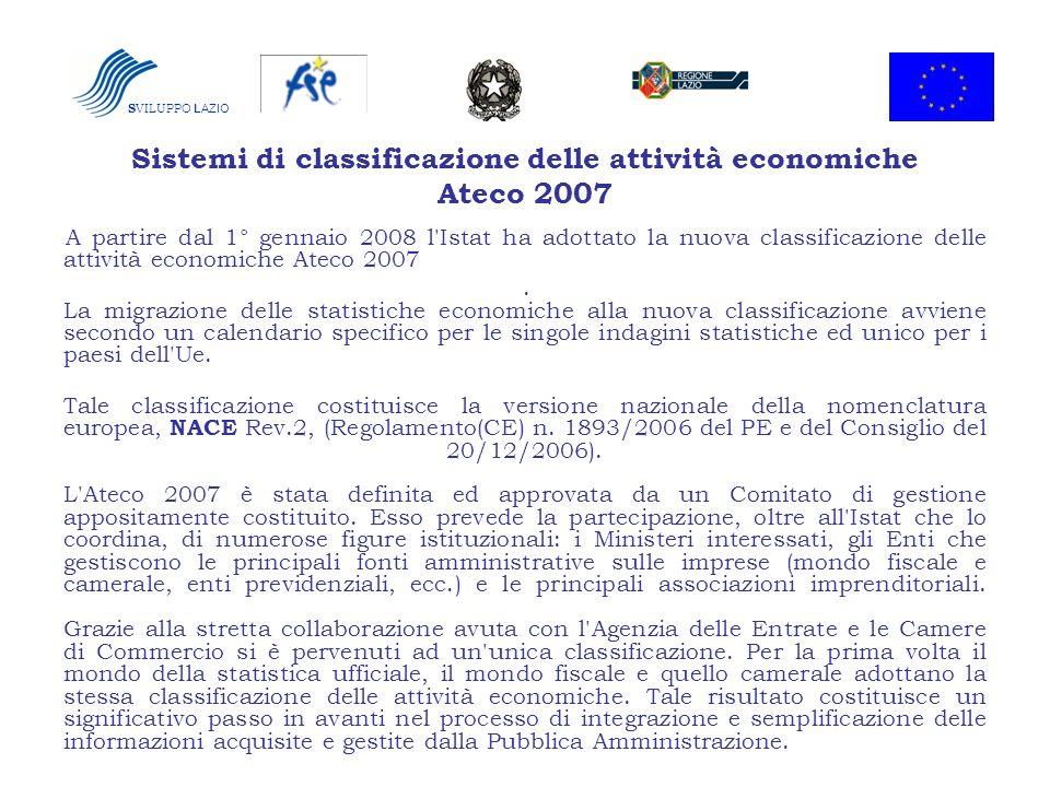 S VILUPPO LAZIO Sistemi di classificazione delle attività economiche Ateco 2007 A partire dal 1° gennaio 2008 l'Istat ha adottato la nuova classificaz