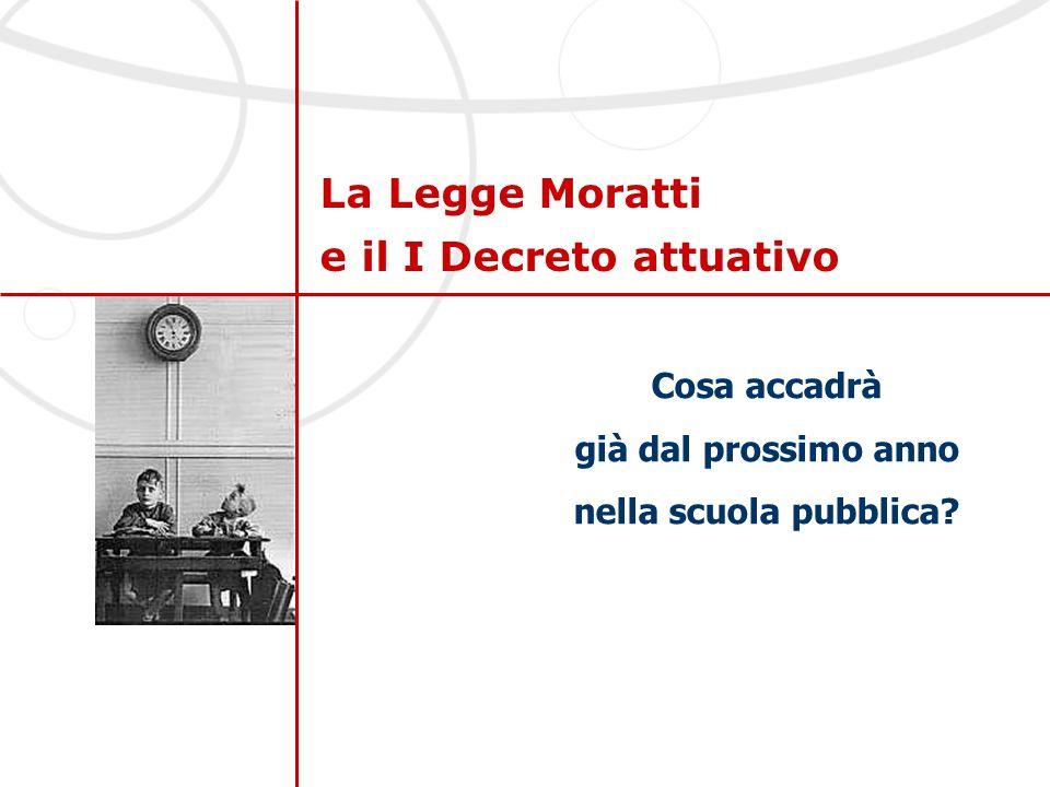La Legge Moratti e il I Decreto attuativo Cosa accadrà già dal prossimo anno nella scuola pubblica