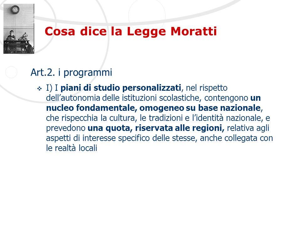 Cosa dice la Legge Moratti Art.2. i programmi I) I piani di studio personalizzati, nel rispetto dellautonomia delle istituzioni scolastiche, contengon