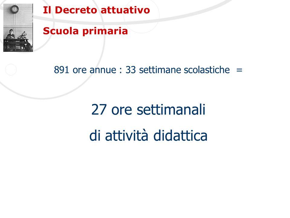 Il Decreto attuativo Scuola primaria 891 ore annue : 33 settimane scolastiche = 27 ore settimanali di attività didattica