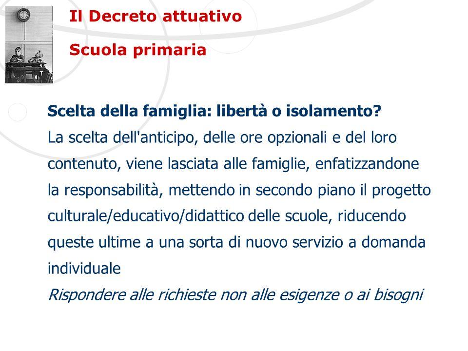 Il Decreto attuativo Scuola primaria Scelta della famiglia: libertà o isolamento? La scelta dell'anticipo, delle ore opzionali e del loro contenuto, v