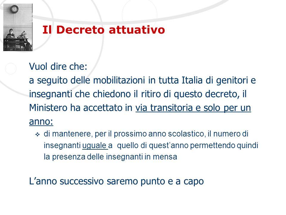 Il Decreto attuativo Vuol dire che: a seguito delle mobilitazioni in tutta Italia di genitori e insegnanti che chiedono il ritiro di questo decreto, i