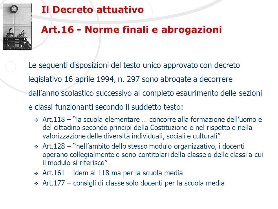Il Decreto attuativo Art.16 - Norme finali e abrogazioni Le seguenti disposizioni del testo unico approvato con decreto legislativo 16 aprile 1994, n.
