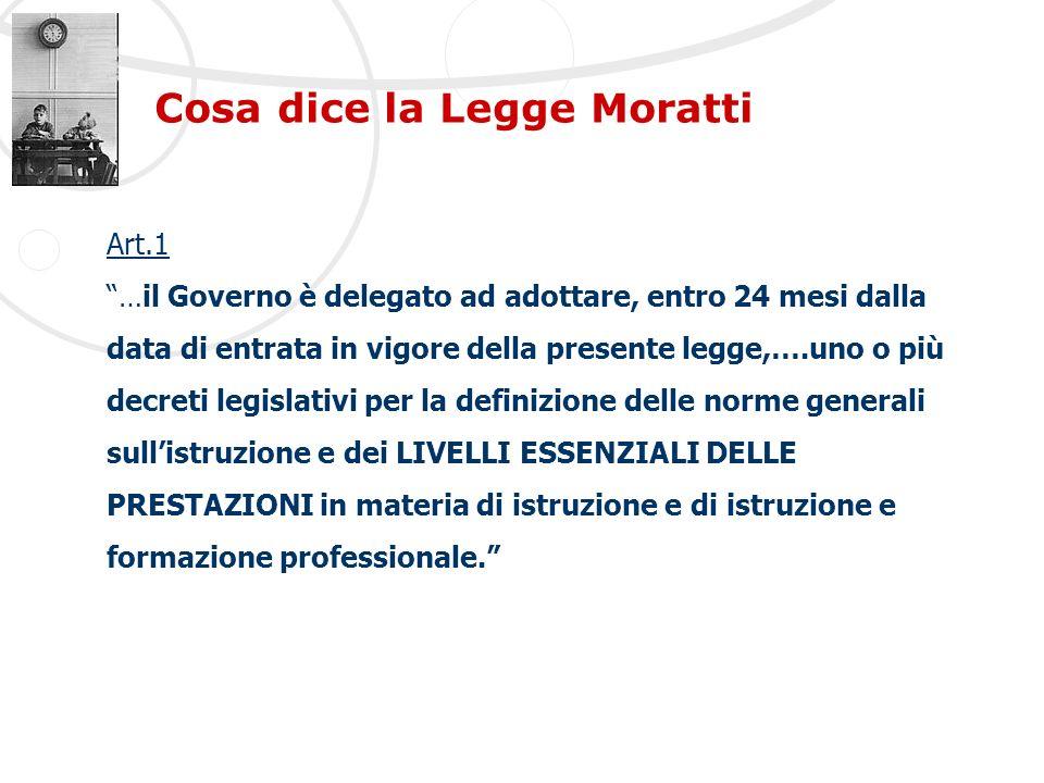 Cosa dice la Legge Moratti Art.1 …il Governo è delegato ad adottare, entro 24 mesi dalla data di entrata in vigore della presente legge,….uno o più de