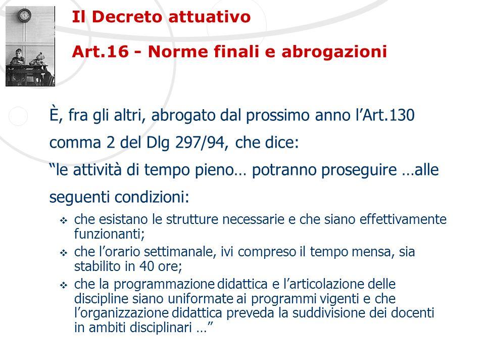 Il Decreto attuativo Art.16 - Norme finali e abrogazioni È, fra gli altri, abrogato dal prossimo anno lArt.130 comma 2 del Dlg 297/94, che dice: le at